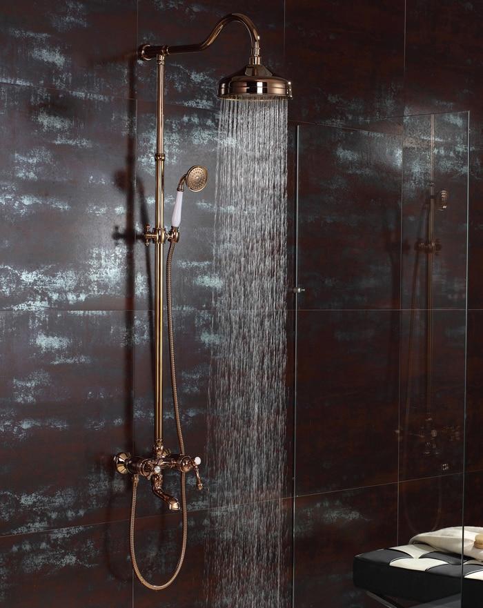 حنفية خلاط مثبتة على الحائط مع دش يدوي ، لون ذهبي وردي ، شحن مجاني