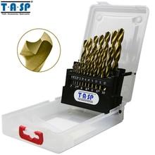 Tasp 19 pçs hss broca conjunto para metal & madeira 1.0 titanium 10mm titânio revestido com caixa de armazenamento ferramentas acessórios