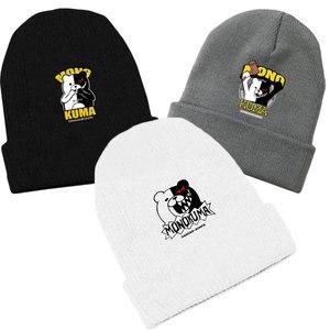 Fashion Unisex Anime Danganronpa Monokuma Beanie Slouchy Cotton Knitted Ski Skullies Hip-Hop Baggy Cap Winter Cosplay Hat Bonnet