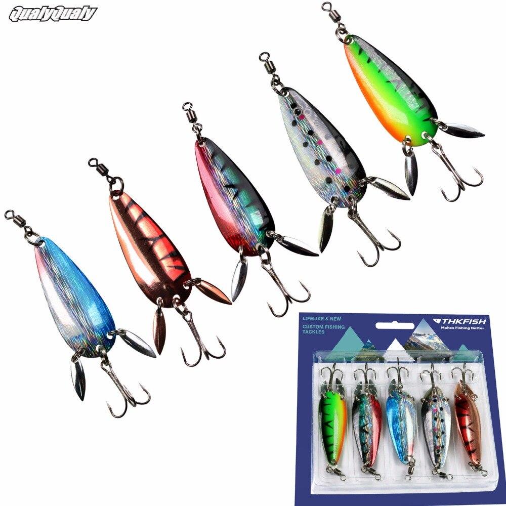 5 unids/lote 14g 1/2oz Metal Spinners cuchara pesca señuelo cola Clicker cucharas Set duro cebo lentejuelas con agudos gancho