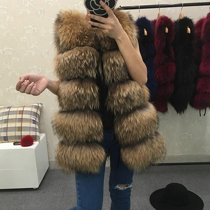 REROYFU mejor Chaleco de piel Natural Real de las mujeres de piel de mapache genuino chaqueta de cuero abrigo Chaleco de piel de la muchacha
