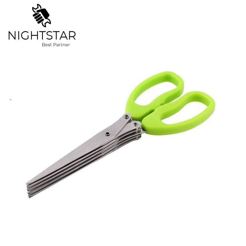 Tesoura de aço inoxidável multi-funcional para facas de cozinha 5 camadas tesoura de sushi shredded scallion corte erva especiarias tesoura