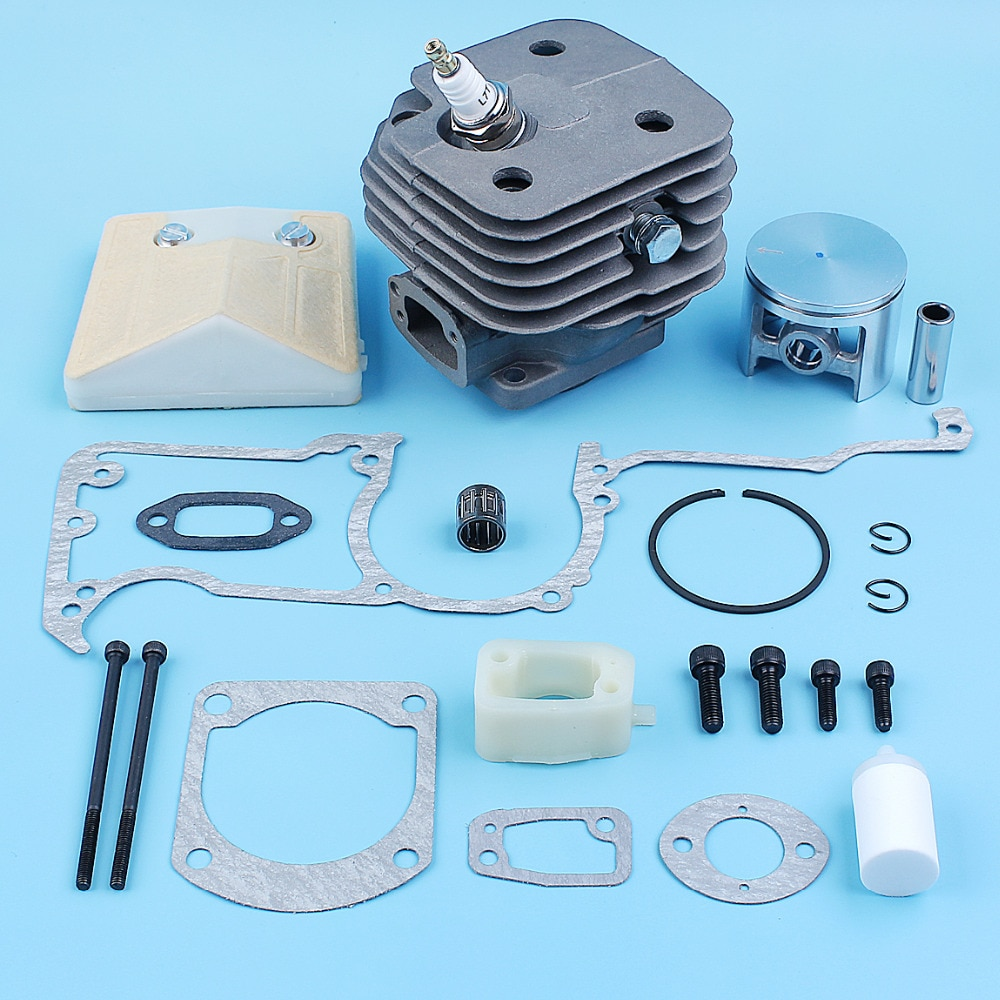 52mm Nikasil Plated Cylinder Piston Gasket Kit For Husqvarna 61 Big Bore Jonsered 630 Super Chainsaw Intake Spacer Air Filter 70cc big bore cylinder barrel kit for peugeot buxy air rs 50 elyseo advantage looxor metal x 50 zenith air 2t 50cc 47mm 12mm