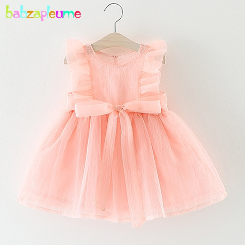 babzapleume Summer 1 Year Baby Girls Clothing Birthday Dress Lace Sleeveless Tutu Cute Bow Infant Dresses Newborn Clothes BC1356