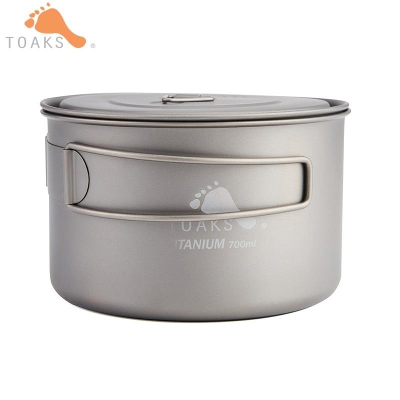 TOAKS Lightweight Titanium Cooking Pot 700ml Folding Handle Cookware Pots with Lid Portable Water Cup Mugs Bag POT-700-D115-L
