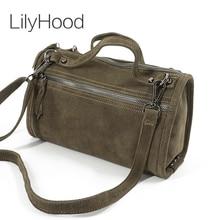 LilyHood femme daim en cuir véritable Rivet sac à bandoulière pour femmes loisirs petit Boston sac à main Nubuck Bowler sac à bandoulière