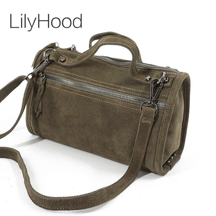 LilyHood Женская Замшевая сумка на плечо из натуральной кожи с заклепками для женщин для отдыха маленькая Бостон сумка нубук сумка через плечо