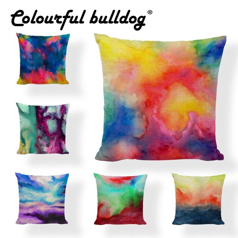 Dropshipping Watercolor Throw Pillowcase Pink Red Purple Blue Green 43*43CM Geometric Cushion Cover Decor Living Room Rock Chair
