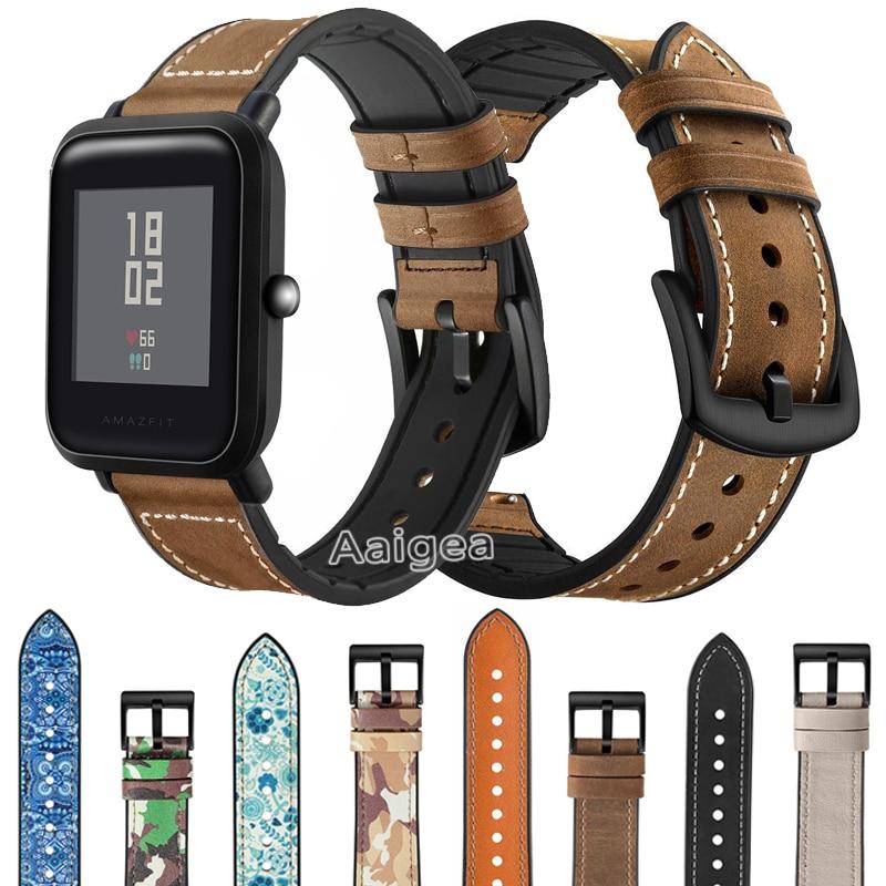 De cuero genuino silicona banda de reloj de correa para Xiaomi Huami Amazfit Bip Lite de correa de muñeca 20mm pulsera de cuero