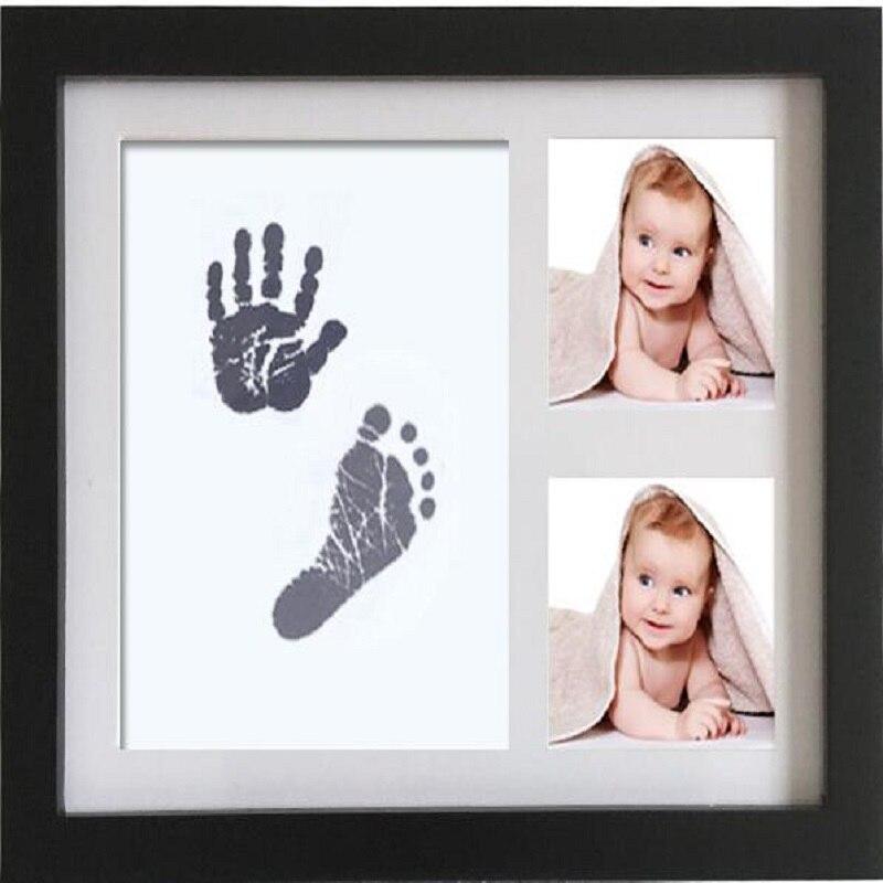 Marco de fotos UBRUSH, madera, blanco, negro y madera, Color para huellas de bebés, 2 cajas de 28*23 cm, marco de fotos para el hogar