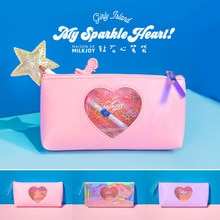 1 Pcs Kawaii Pencil Case Diamond heart PU Gift Estuches School Pencil Box Pencilcase Pencil Bag School Supplies Stationery