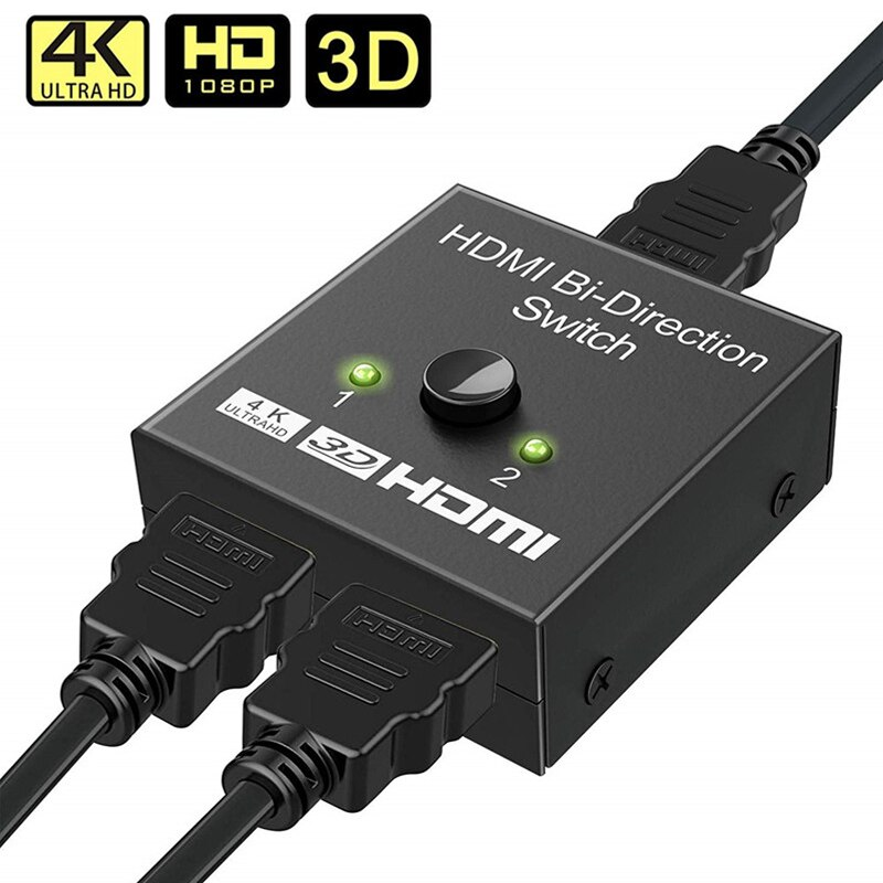 4K HDMI Schalter 2 Ports Bi-directional 1x2/2x1 HDMI Switcher Splitter Unterstützt ultra HD 4K 1080P 3D HDR HDCP für PS4 Xbox HDTV