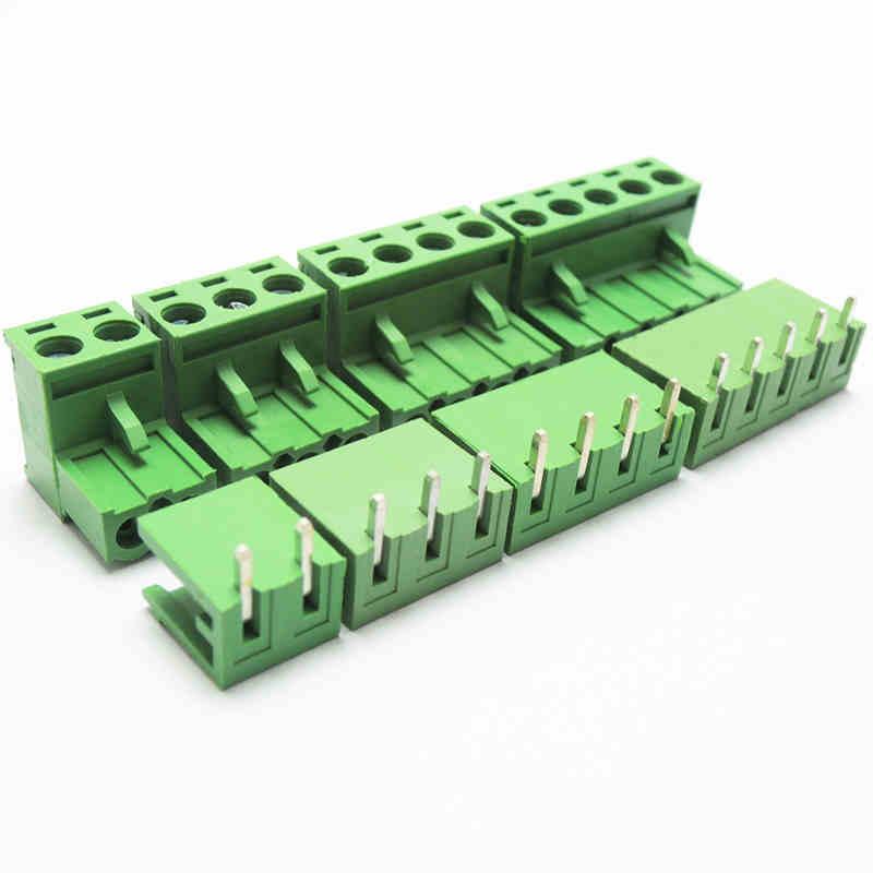 5.08 milímetros Arremesso PCB Pluggable Parafuso Blocos de Terminais, Plugue + Angle Pin Soquete 2 pinos para 12pin