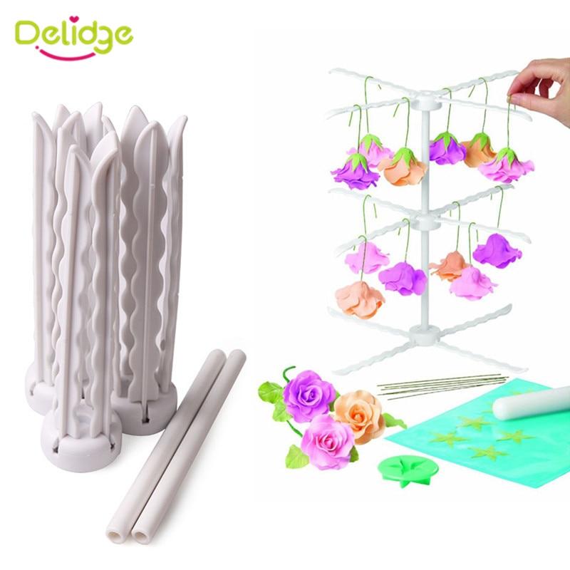 Delidge Flower Drying Rack Stand decoración de pasteles Fondant extraíble pasta de goma flor Rack herramientas prácticas para hornear