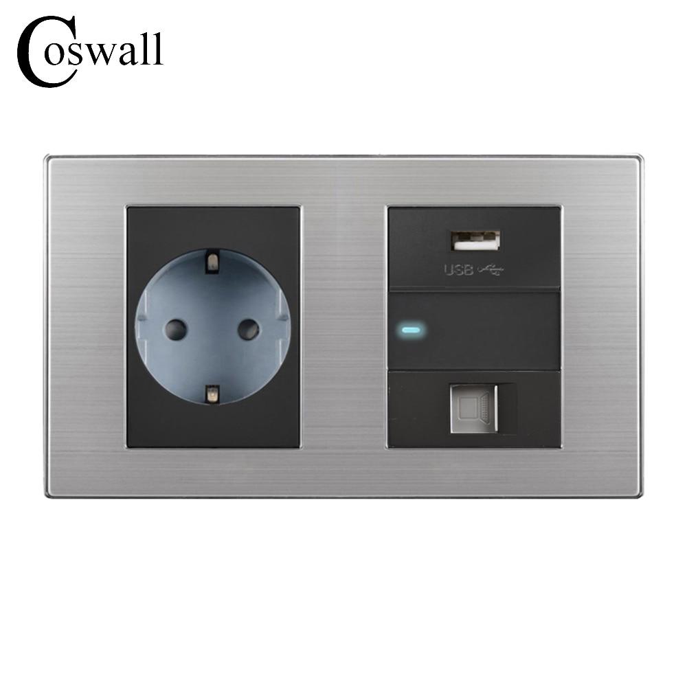 Coswall 16A الاتحاد الأوروبي القياسية جدار المقبس + USB ميناء الشحن ل المحمول + 1 عصابة 2 طريقة التبديل مؤشر LED + RJ45 الإنترنت جاك