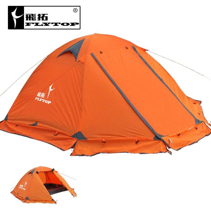 FLYTOP высокое качество 3 человека двухслойная непромокаемая ветрозащитная уличная палатка для кемпинга с снежной юбкой
