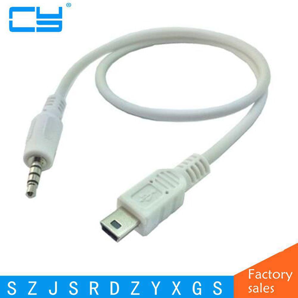 3.5mm Car Hifi AUX Audio Mini USB Cable Cord White For MP3/4 Mini USB Device