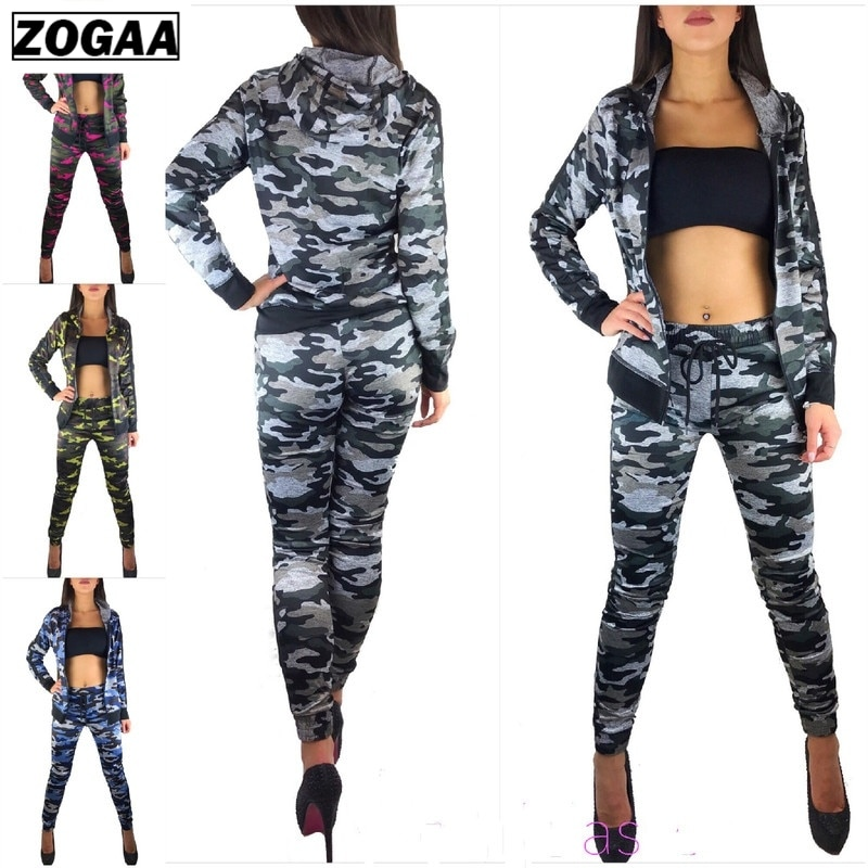 ZOGAA 2021 Women Long Sleeve Pants Suits Two Pieces Set Sporting Tracksuit Outfit Hoodie Top And Pant Sets