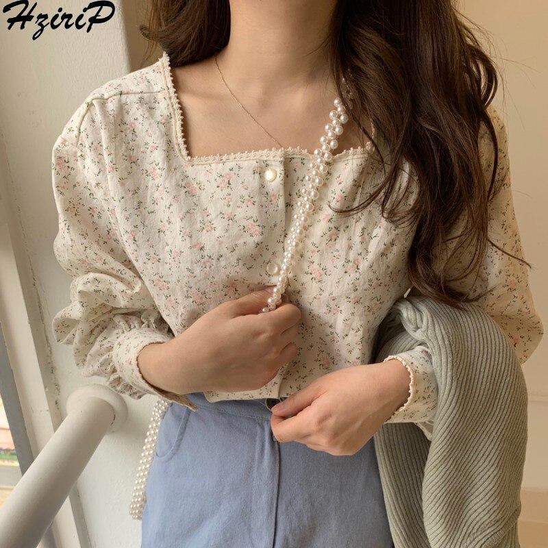 Hzirip blusa Coreana de mujer 2020 Primavera Verano dulce moda cuello cuadrado Casual imprimir camisa de manga larga mujeres Tops camisas