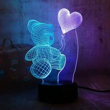 Romantique ours en peluche tenir coeur 7 couleur mixte double couleurs petite amie cadeau 3D LED nuit Lihgt décor maison nouveauté Lustre lampe de bureau