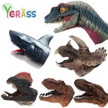 Dinosaure main marionnettes doigt jouets requin animaux tête gants dessins animés sur la main poupée jeu de rôle marionnette Dino théâtre enfants cadeau