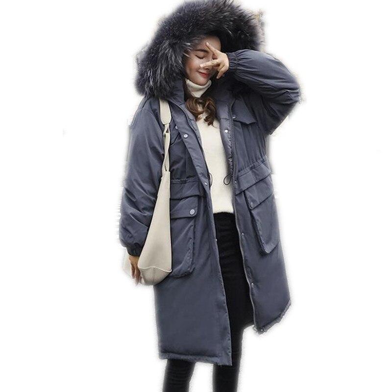 Hooded Large Fur Collar Winter Women Jackets2018New Down Cotton Jacket Medium-Long Winter Coats Button High Quality ParkasCQ2485