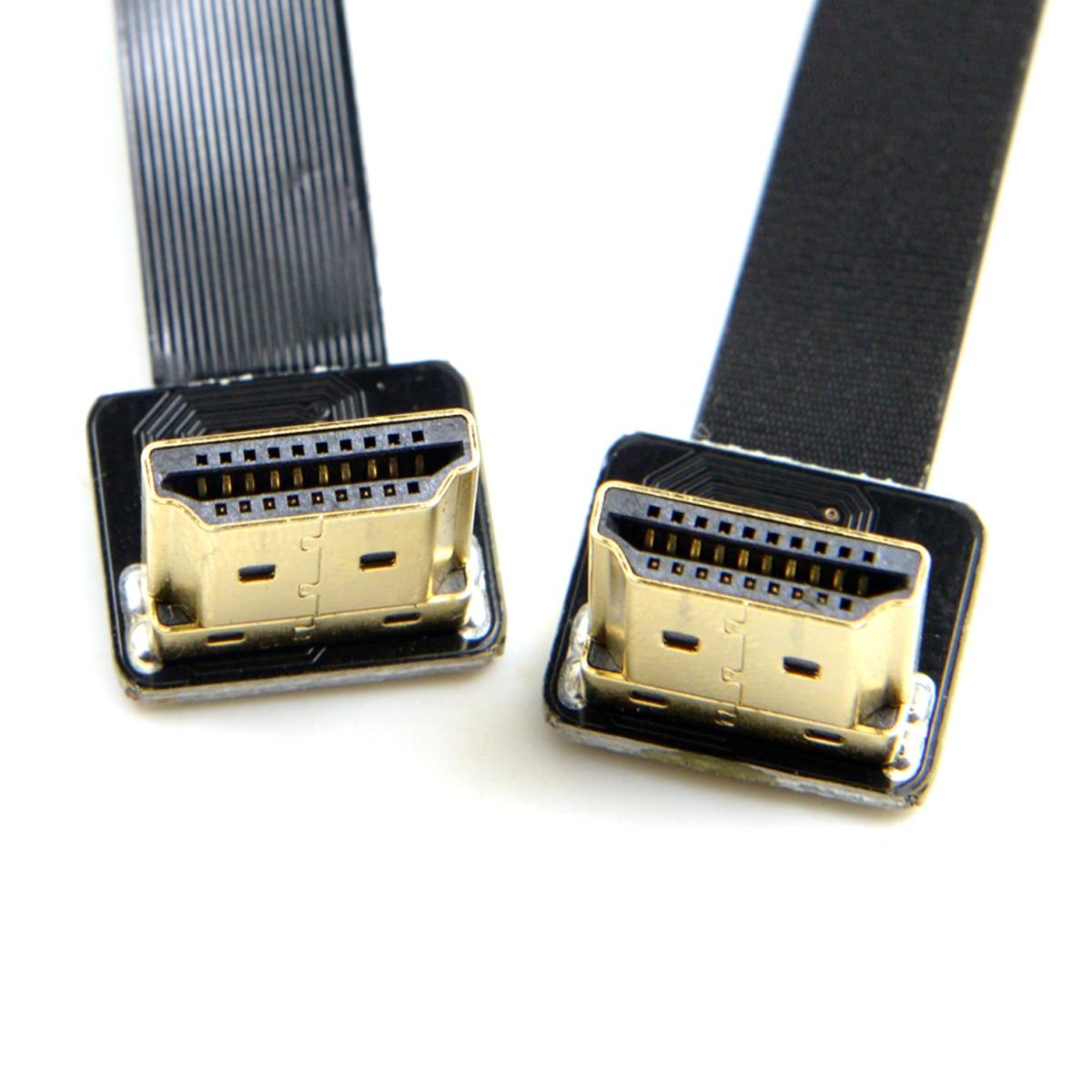 CYFPV Dual Up Angled 90 grados HDMI tipo A macho HDTV FPC Cable plano 50cm para FPV HDTV multicóptero fotografía aérea