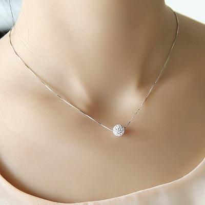 S925 pure silver necklace female short design crystal Shambhala ball chain elegant brief anti-allergic