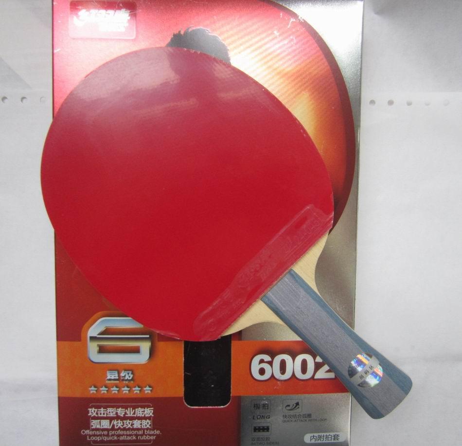 Original DHS 6002 (6002, 6 estrellas) FL raqueta de tenis de mesa de mango largo con caja raqueta deportes de interior