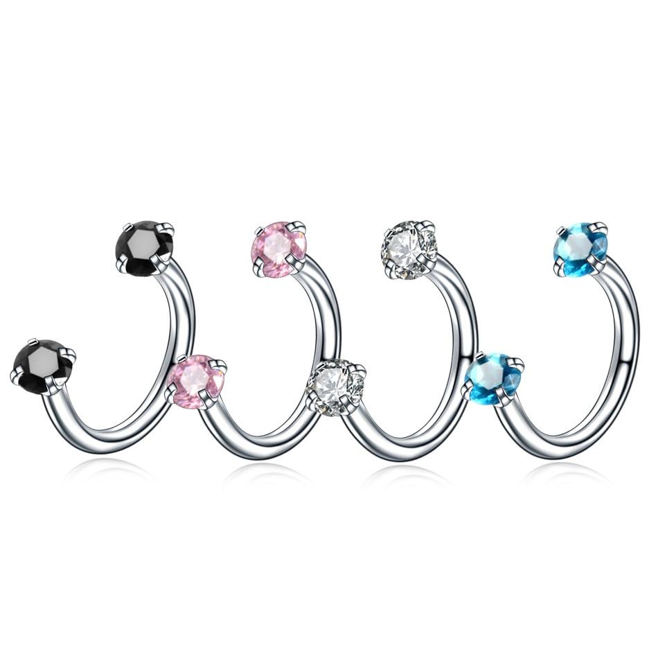 Utimtree novo 4 pc 16g cristal ferradura anéis sobrancelha nariz piercings nariz anéis bcr brincos tragus anéis piercings corpo jóias