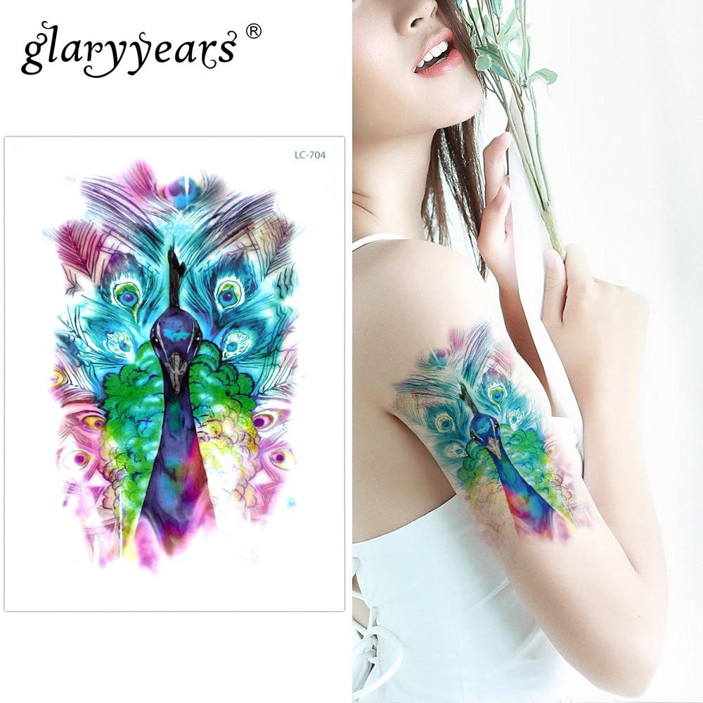 Glaryyears um pouco grande braço tatuagem temporária adesivo pavão falso tatoo cartucho flash tatto à prova dLC-704 água corpo arte mulher