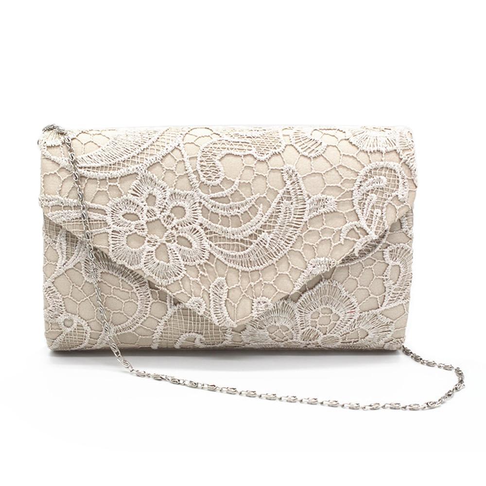 Keenici Hollow Lace Clutch Bag New Lace bolsas de satín de noche de alta calidad de seda para fiesta bolsa exquisita día embragues Crossbody Chain regalo