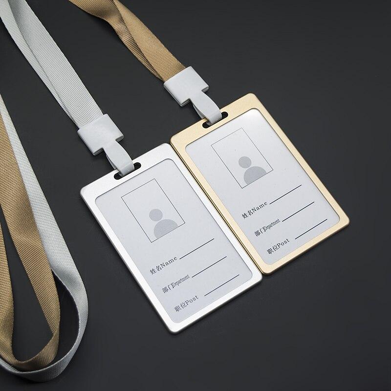 10 unids/lote aleación Vertical Metal ID insignia titular doble cara nombre tarjeta caso con cuello cordón escuela Oficina suministros