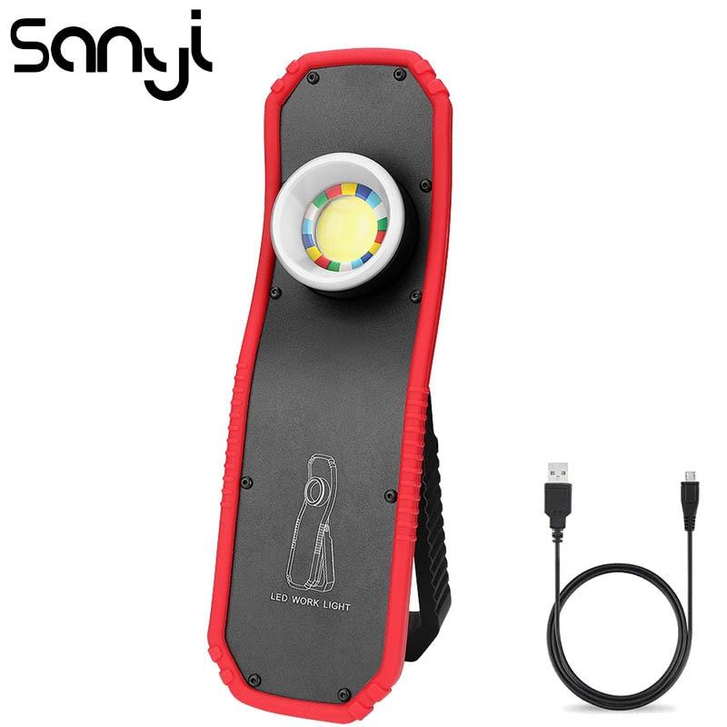 SANYI COB LED Mini Portable Lighting USB Recharging Built-in Battery Flashlight Torch Magnetic Camping Lamp 3800 LM