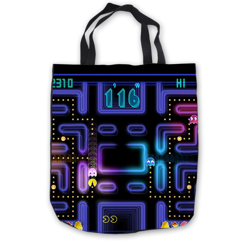 Custom Canvas pacman ToteBags Hand Bags Shopping Bag Casual Beach HandBags Casual  180713-1-04