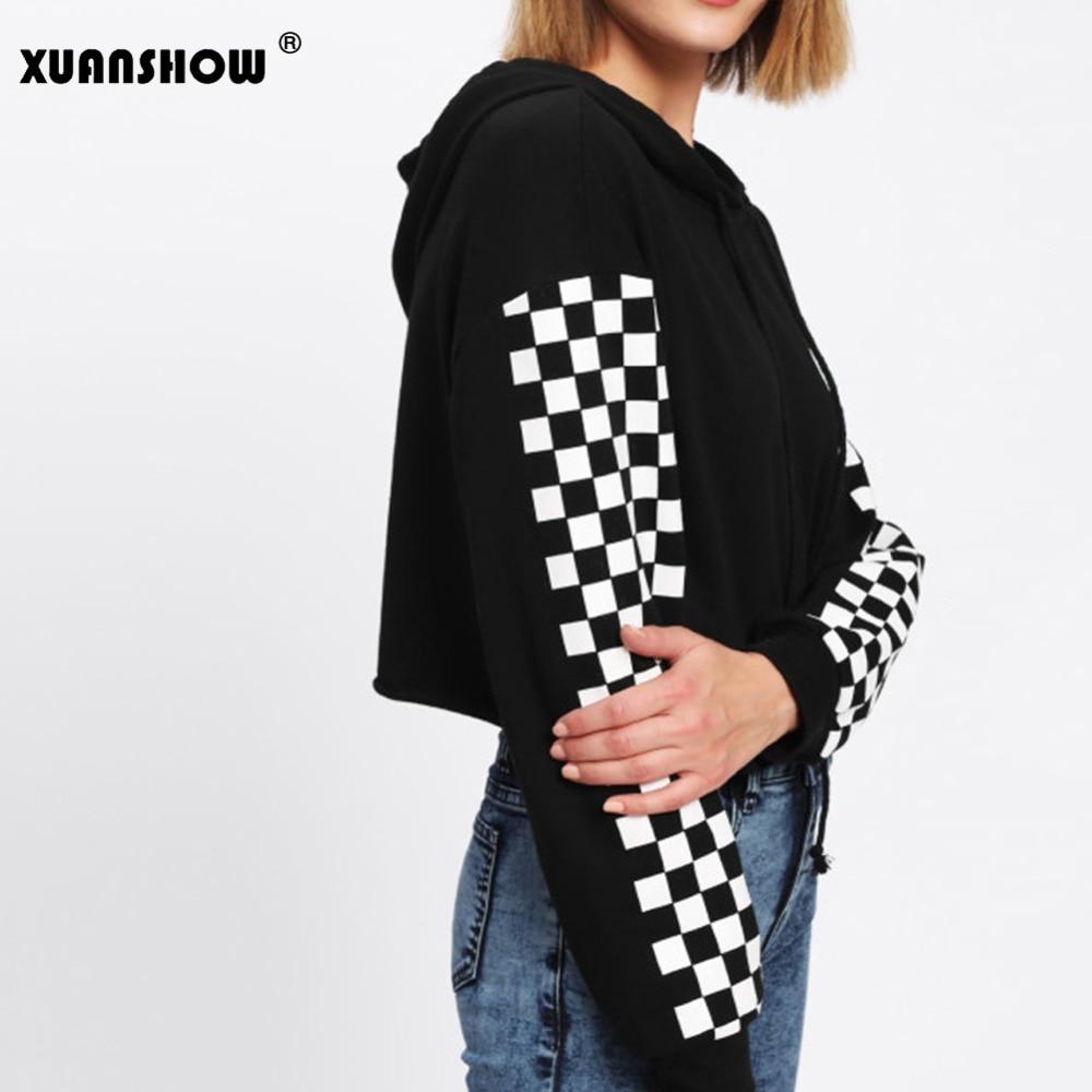 Xuanshow moletom feminino cropped de manga longa, pulôver curto com capuz, lateral xadrez, outono 2018
