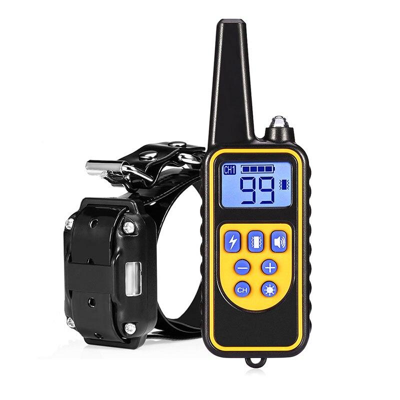 800M RC perros de compañía eléctrica collares de adiestramiento de shock Anti-barking pantalla LCD Collar de perro impermeable recargable mascotas corteza-