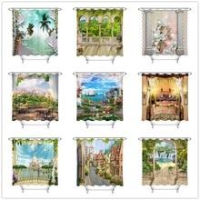 Rideau de douche écrans de salle de bains   Paysage et Architecture européenne tissu Polyester écologique pour décor de baignoire