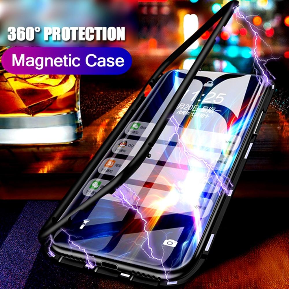 Funda de teléfono de Metal de adsorción magnética para Oneplus 6 6T 5T vidrio templado imantado 360 carcasa completa One Plus 6 6T 5T Fundas