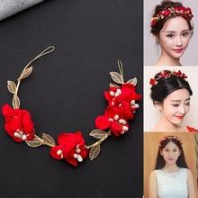 New Coming Bride Headdress Retro Hair Jewelry Gold Plated Leaf Rhinestone Red Rose Flower Crown Women Wedding Accessories