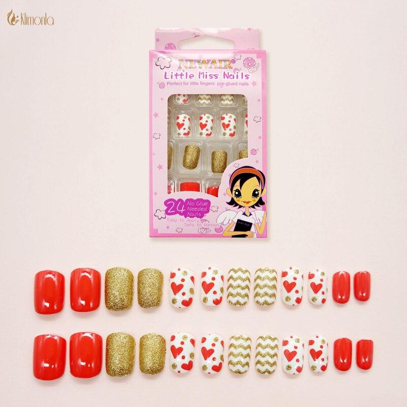 Nueva moda uñas postizas rojas con oro prensado en 24 unids/set uñas postizas de dibujos animados lindos con prepegamento puntas no tóxicas Nep Nagels