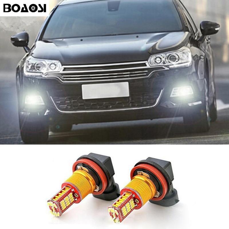 BOAOSI 2x H11 H8 светодиодный canbus лампы отражатель зеркало дизайн для противотуманных фар для citroen c2 c4 c4l c5 triumph стайлинга автомобилей