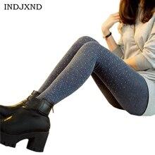 Legging en laine de coton pour femmes   Moyen, qualité pour femmes, pantalon noir, Design scintillant, motif à pois, épais tricoté, Leggings flexibles élastiques à la mode