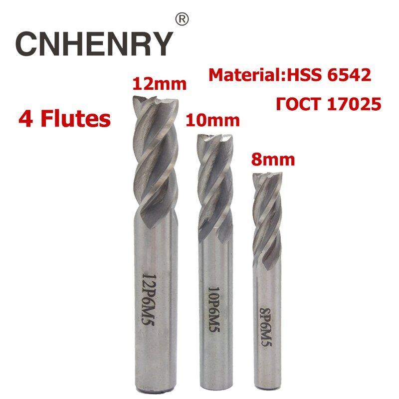 4 Flutes HSS 6542 End Mill Diameter 8-12mm Router Bit CNC Milling Cutter for Wood End Mill Cutter Drill Bit Diagnostic-tool