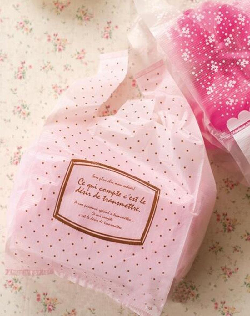 100 шт./лот, милые розовые точки, пластиковые сумки для покупок, пакеты для упаковки ювелирных изделий, пластиковые пакеты