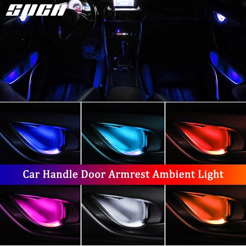 4 PCS Atmosfera de Luz Auto Interior Interior Porta Tigela Alça de apoio de Braço Carro Luz Ambiente Luz Para Volvo S60 S90 V40 v60 V90 XC40 XC