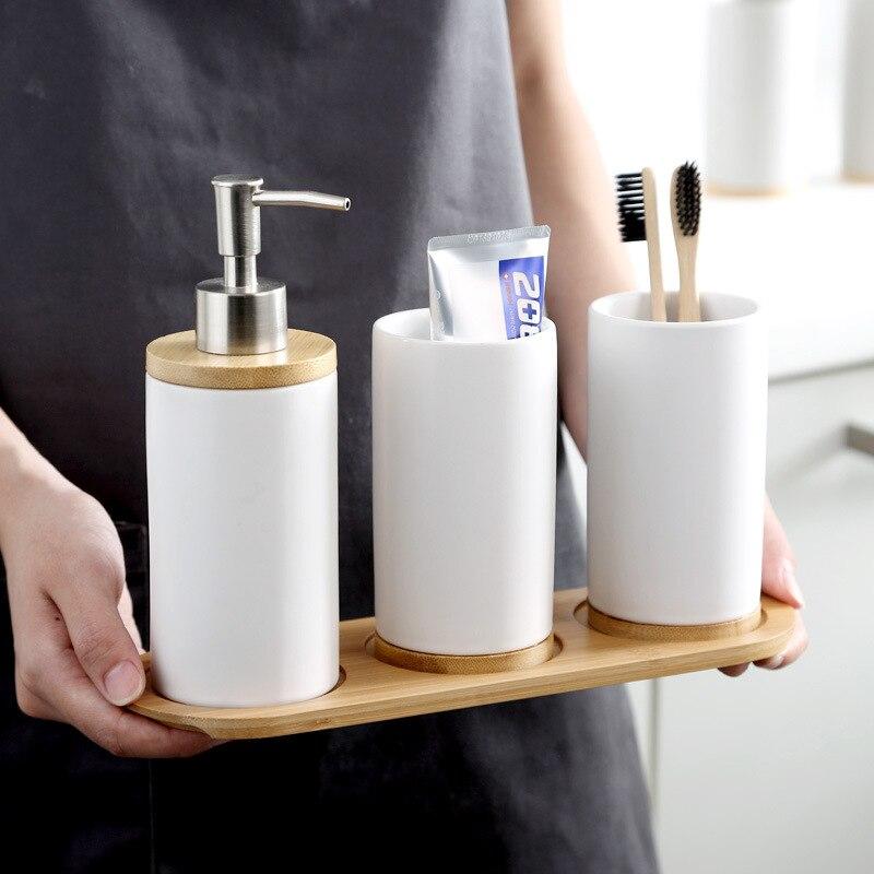 Taza de cerámica para la boca, soporte para cepillo de dientes, botella para loción, tabla de bambú para guardar pasta de dientes, juego de baño nórdico, triangulación de envíos