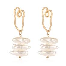 2019 nouveau coréen mignon naturel perle deau douce perles or boucles doreilles goutte pour fille oreille femme longues boucles doreilles fête bijoux