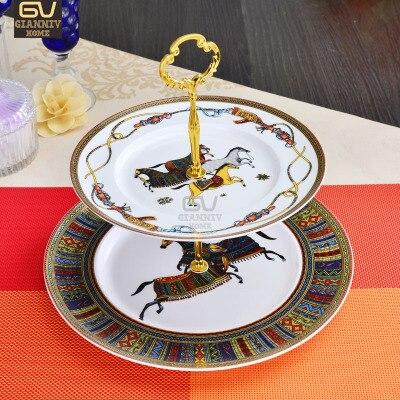 أطباق صينية خزفية ذات دورين على شكل عظم الحصان الأوروبي ، أطباق للكيك والفواكه والوجبات الخفيفة والشاي بعد الظهر ، أدوات مائدة مزخرفة