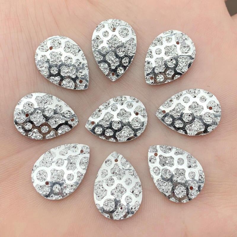 13*18mm gota de agua resina coser en diamantes de imitación de resina de plástico joyas Cabochon para cuentas pendiente AB 200 unids/lote -A538*5